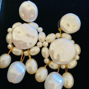 Alaxy Jewerly Geometric tassel bing long earrings